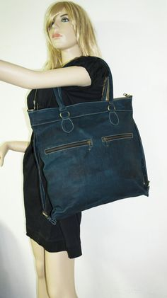 Distressed Teal blue oiled leather tote bag leather by chicleather