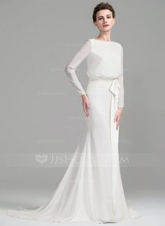 [€ 179.03] Sheath/Column Scoop Neck Court Train Chiffon Wedding Dress With Ruffle Bow(s) (002076025)