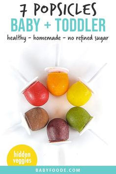 These 7 Healthy Popsicles for Baby   Toddlers are made with fruits Baby Popsicles, Healthy Popsicles, Homemade Popsicles, Healthy Dessert Recipes, Baby Food Recipes, Toddler Recipes, Kitchen Recipes, Desserts, Baby First Finger Foods