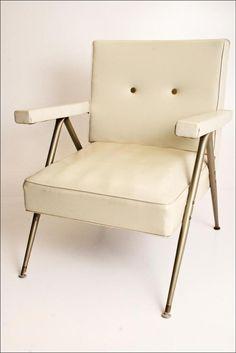 Mid Century Modern Chair WHITE vtg 50s vinyl lounge slipper danish space age 60s