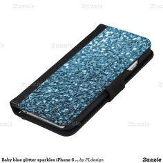 Baby blue glitter sparkles iPhone 6 wallet case by #PLdesign #BlueSparkles #SparklesGift