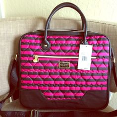 Betsey Johnson Laptop Briefcase Bag NWT Betsey Johnson Laptop Briefcase Bag NWT. Shoulder strap. Front Pocket. Fuchsia and black stripes. Heart quilted pattern front and back. Cute heart medal details. 15 inches wide by 13 ½ inches tall. No trades. Betsey Johnson Bags Laptop Bags