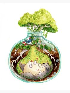 Who wouldn't want your own Totoro in a jar! / This is a tribute to the amazing work of Studio Ghibli. / Originally done in Watercolor. Plants In Jars, Studio Ghibli Art, Ghibli Movies, My Neighbor Totoro, Hayao Miyazaki, Animes Wallpapers, Cute Drawings, Fine Art Paper, Cute Art