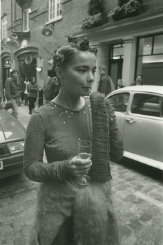 WHAT WE WORE: BALEARIC 01 / 30 Bjork at the Sign of the Times Covent Garden shop opening, wearing mohair cardigan by Stuart Alexander and cheesecloth sequin dress by Jo Bates (now Sibling), Image by Jeremy Deller, courtesy of Fiona Cartledge Grunge, Gianni Versace, 1990 Style, Jeremy Deller, Vintage Outfits, Hip Hop, Balea, We Wear, How To Wear