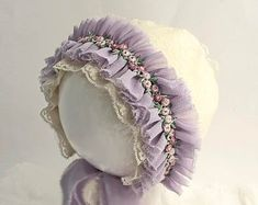 Lavender Ruffle Lace Bonnet - Mauve, Pink Sitter Bonnet - Cream Lavender Baby Girl Photo Prop with Purple Flowers - Baby Shower Gift Baby Shower Photo Props, Baby Shower Photos, Baby Girl Photos, Crochet Beanie, Crochet Baby, Baby Boy Baptism Outfit, Crochet Mittens Free Pattern, Silk Bonnet, Baby Bonnets