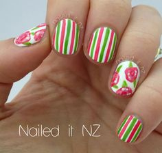 Really love the way the pink and green lines make the nails stand out.(: