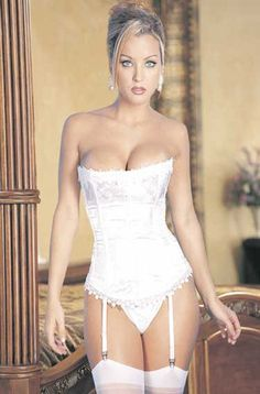 d494183924 Strapless Bridal Corset With Lace Trim Lingerie Set