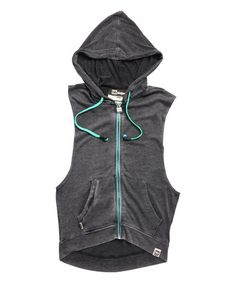 Look what I found on #zulily! Black & Aqua Beat Sweet Headphone Tank Hoodie - Women #zulilyfinds