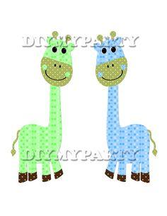 scrapbooking Printable party decor giraffe Clip Art giraffe clipart birthday decoration pdf digital birthday decor green blue diy tag 267