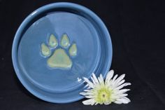 Medium Dog Bowl Alfred Blue with Apple Green paw by ThePawteryShop, $29.00