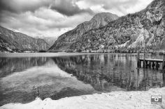 Overlooking the lake in Hallstatt Austria. Hallstatt, Small Towns, Black And White Photography, Austria, Travel Photography, Places To Visit, The Incredibles, In This Moment, Mountains