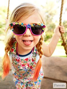 Use a pair of tweezers and a hot-glue gun to apply sequins, gemstones, and buttons to your child's sunglasses.