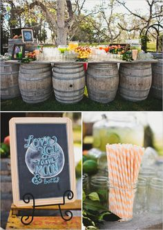 Drink table ideas for your outdoor reception.