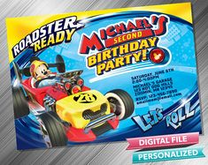 Mickey Roadster Racers Invitation