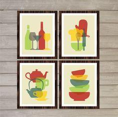 Retro Kitchen Printable Wall Art - Colorful Tea Pots, Wine Bottles, Bowls -8x10- Kitchen Decor Gift Instant Download Home Interior Design on Etsy, $8.92