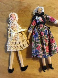 Two-Wood-Peg-Dolls-One-Dressed-Shackman-amp-One-in-Crocheted-dress Wood Peg Dolls, Clothespin Dolls, Wooden Figurines, Crochet, Amp, Dress, Handmade, Ebay, Vintage