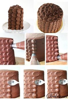 How to frost a cake with a piping bag and spoon...if I do it right it will look like fish scales to go with her theme!
