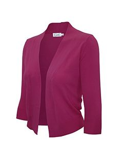2cf1818e CIELO Women's Knit Cropped Sweater Bolero Cardigan Three Quarter Sleeve