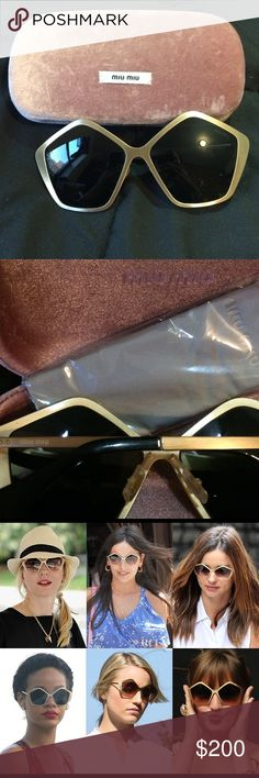 Miu Miu CULTE gold metal MU 11NS sunglasses These limited edition, metallic gold shades by Miu Miu are a celeb fave. Rihanna has been photographed in her pair several times. Fun pentagon shape, logo imprinted at temples. Comes with original pink velvet case and unopened cleaning cloth. Miu Miu Accessories Sunglasses