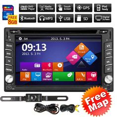 Double 2 Din In Dash Stereo Receiver GPS Navi Car DVD Player Audio SystemCamera