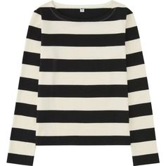UNIQLO Women Striped Boat Neck Long Sleeve T-Shirt (79 RON) ❤ liked on Polyvore featuring tops, t-shirts, shirts, striped boatneck shirt, striped tee, cotton long sleeve t shirts, stripe t shirt and t shirts