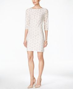 541a16af3152 Jessica Howard Illusion-Sleeve Lace Sheath Dress Lace Sheath Dress, Dress  Online, Illusions