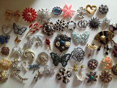 Lot 50 VINTAGE BROOCH PIN Rhinestone Enamel Jewelry AS IS PARTS Craft REPAIRS #1 #ebay #broochcraftlot
