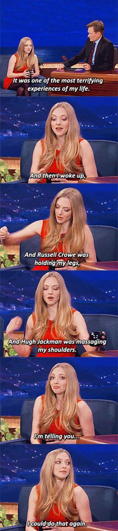 Amanda Seyfried explaining what happend when she fainted on the set of Les Miserables