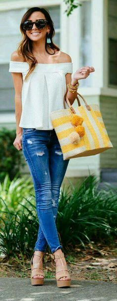 A cropped OTS top with distressed skinnies.  I must have these jeans!  Please post if you know where to find them.
