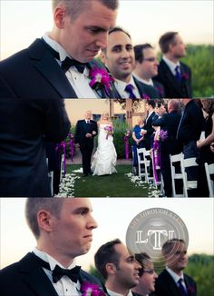 groom's first look at bride, bride down the aisle