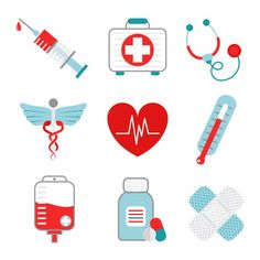 Illustration about Decorative medical emergency first aid kit symbols pictograms collection with injection syringe abstract flat isolated vector illustration. Illustration of ambulance, medication, collection - 43147777 Medical Symbols, Medical Icon, Icon Set, Barcode Tattoo, Emergency First Aid Kit, Nurse Art, Cupcake Drawing, Kawaii Doodles, Happy Birthday Messages