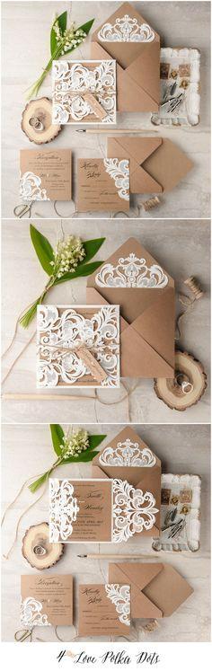 Laser cut lace romantic rustic wedding invitations