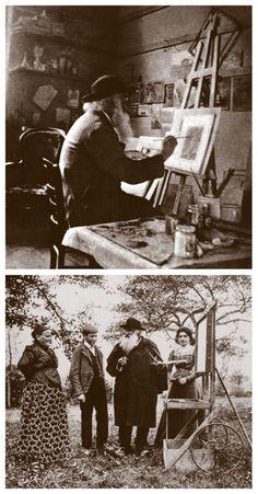 Camille Pissarro dans son atelier à Eragny (en haut) et sur le motif (en bas)
