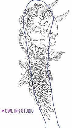 Japanese Drawings, Japanese Tattoo Art, Japanese Sleeve Tattoos, Hannya Mask Tattoo, Hanya Tattoo, Marquesan Tattoos, Irezumi Tattoos, Asian Tattoos, Black Tattoos