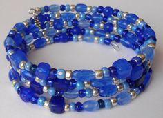 New jewelry - unique, handmade bead memory wire bracelet! Blue Silver Fade Memory Wire Bracelet by VineDesignBeads on Etsy, $16.00