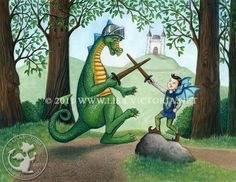 Dragon art, art print, nursery art, nursery artwork, fine art print, friendly dragon, dragon, dragons, Dragon Play, elf, knight, sword play, Lisa Victoria, fantasy, fantasy art, fairies, fairy tale, greeting card, magnet, sticker, castle,forest, green, children's decor, kid's wall art