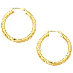 10K Yellow Gold 3.0mm (1/8) Textured Polished Open Round Tube Hoop... (500 RON) ❤ liked on Polyvore featuring jewelry, earrings, yellow gold earrings, gold earrings, polishing gold jewelry, yellow gold jewelry and fancy jewelry