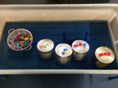 Catering tins with magnetic letters. CVC words in the water area from @Bukwrms