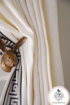DIY Anthropologie rabbit hook turned curtain hold back via Honey & Fitz #anthropologie #rabbit #curtains