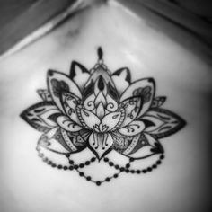 """""""Did this #lotus #sternumtattoo today. #blackandgrey #tattoo"""""""