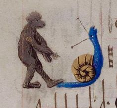 Get your bloody foot off my tail : The Monkey and the Blue Snail (Wolfenbüttel, Codex Guelf. Medieval Life, Medieval Art, Medieval Manuscript, Illuminated Manuscript, Snail Art, Magnificent Beasts, Doodles, Book Of Hours, Bizarre