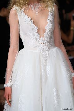 Galia Lahav Spring 2016...Gorgeous details.I see leather. Try adding hints of color for the modern bridal look.Don't be afraid to try different fabric textures too.