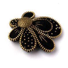 Unusual Zipper Brooch,Flower  of Felt, Zipper Jewelry, Black & Gold Handmade Brooch with Button. $37.00, via Etsy.