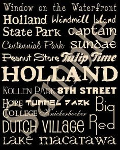 Holland Michigan Attractions Poster. $17.00, via Etsy.