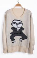 Apricot Long Sleeve Gangnam style Pattern Sweater $30.97 #SheInside