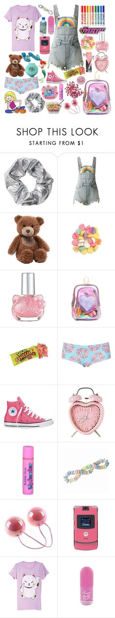 """""""My childhood (early 2000's contest ) read description"""" by siennahaw ❤ liked on Polyvore featuring Monki, McGuire, UNIF, Gund, Hello Kitty, Topshop, Converse and Motorola"""