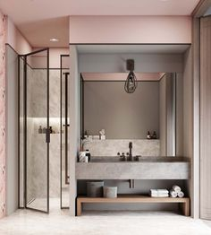 Rose poudré. Cement counter. Shower doors