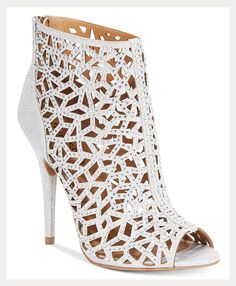 caged peep toe bridal booties - gorgeous!
