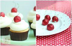 The TomKat Studio: Glitter Cherry Coconut Cupcakes :: Recipes