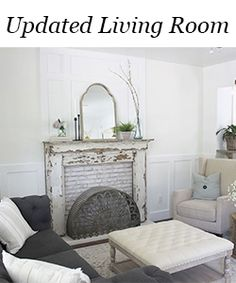 How to Fake A Chandelier & A Giveaway - The Honeycomb Home Vintage Fireplace, Fake Fireplace, Custom Fireplace, Fireplace Surrounds, Fireplace Design, Fireplace Ideas, Fireplace Mantels, Porch Flooring, Vinyl Plank Flooring